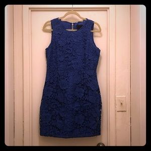 J.Crew Sleeveless Floral Lace Dress, Blue 12P